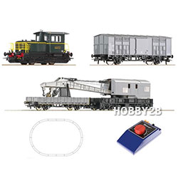 [HO] Analogue Starter Set: Diesel locomotive D.214 + crane train, FS