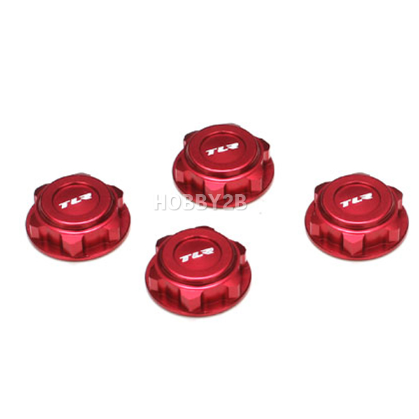 Covered 17mm Wheel Nuts, Alum, Red  8/T 2.0, TEAM LOSI